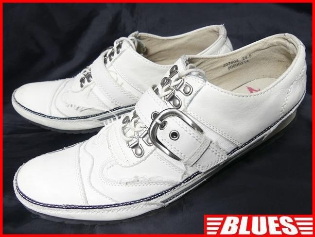即決★whoop'ee'★24.5cm レザーベルトストラップシューズ フーピー メンズ 白 ホワイト 本革 スニーカー 本皮 レースアップ 革靴 _画像1