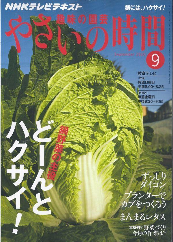 ■ やさいの時間 2010-09 9月号 ■ どーんと ハクサイ ! ■ NHK テレビテキスト 趣味の園芸_画像1