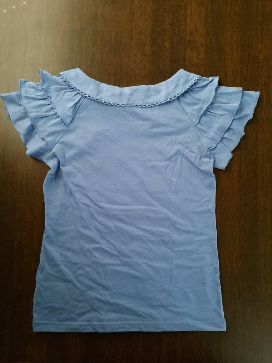 ★メゾピアノ★mezzo piano★半袖Tシャツ★袖フリル★リボン★ブルー★150㎝★美品★_画像2