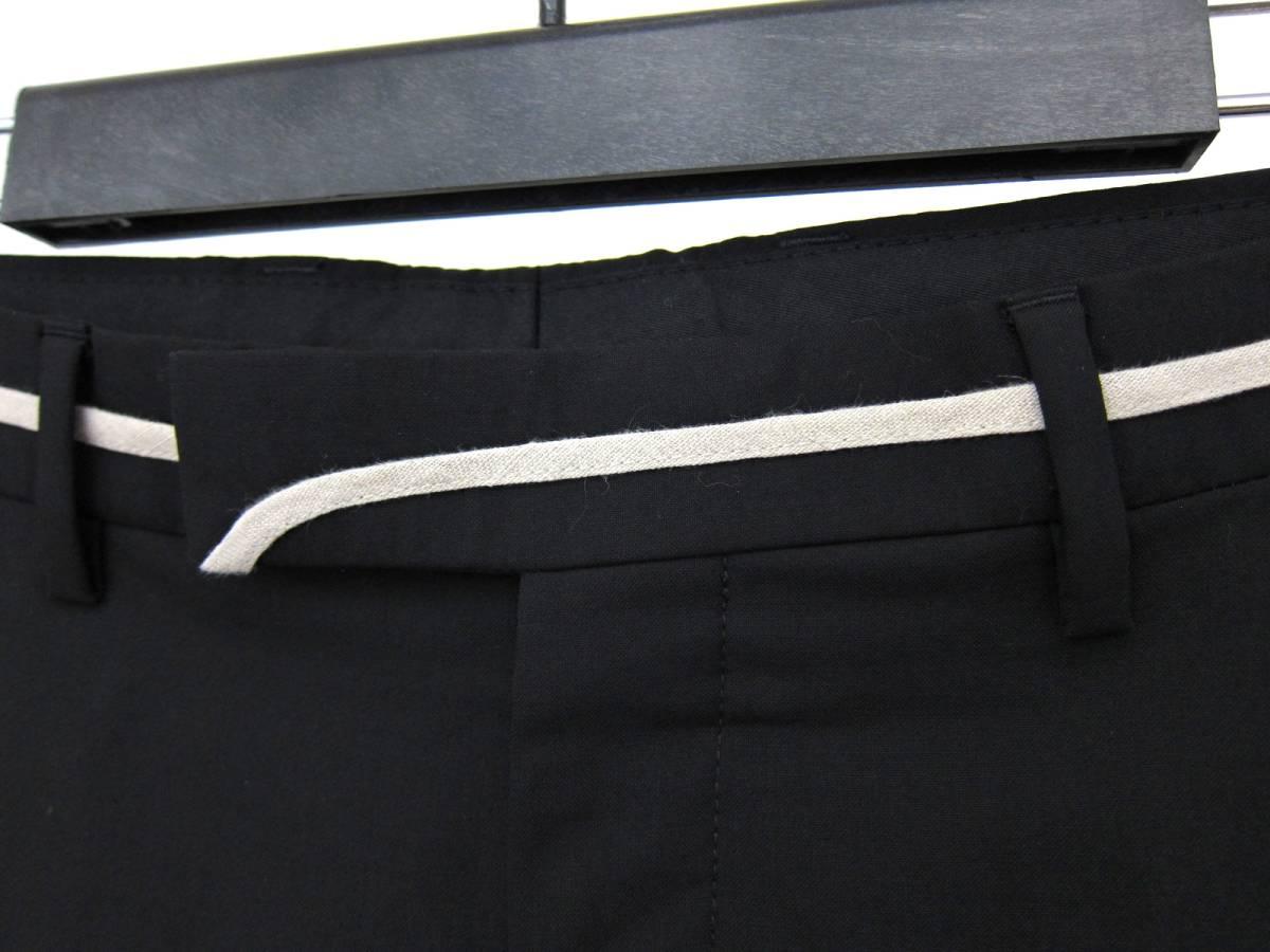 Dior HOMME ディオールオム ウエスト リボン ライン 薄手 ウール パンツ スラックス イタリア製 46 黒 ブラック 美シルエット メンズ