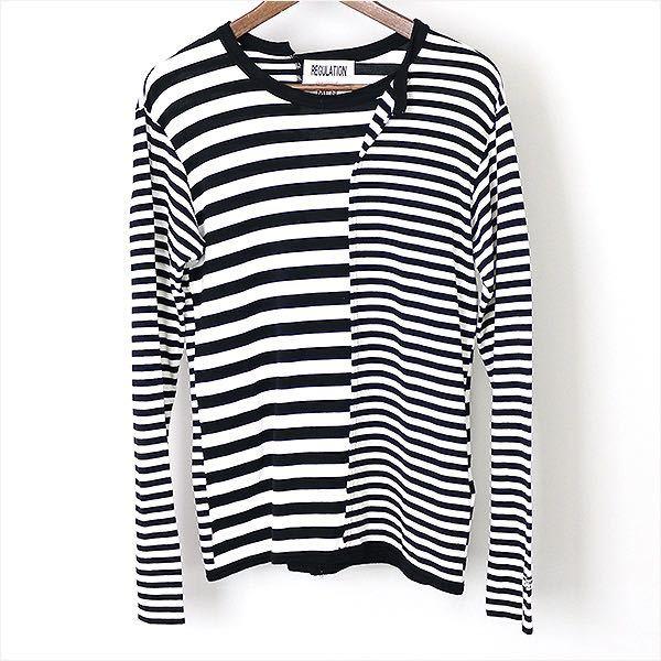 ヨウジヤマモトプールオム ボーダーカットソー YOHJI YAMAMOTO POUR HOMME レギュレーション ヨウジヤマモト REGULATION 長袖Tシャツ ロンT_画像1