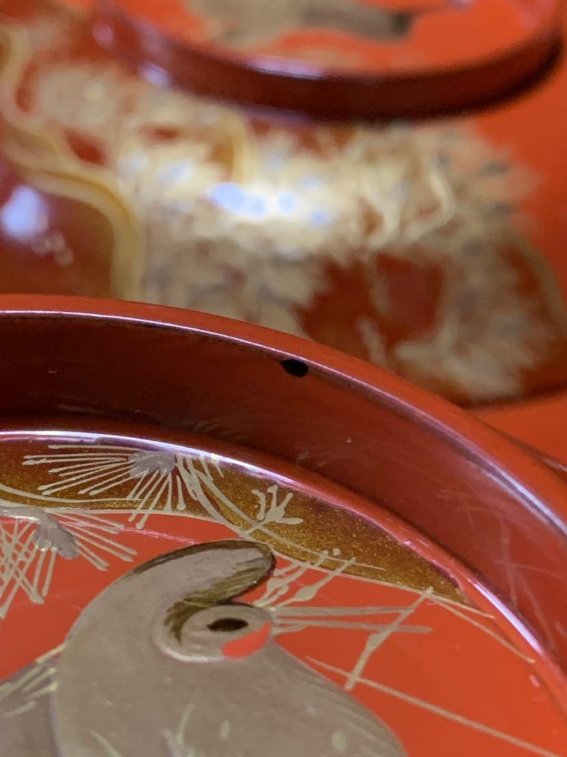 時代 木製漆器 鶴蒔繪 煮物椀 20客_画像10