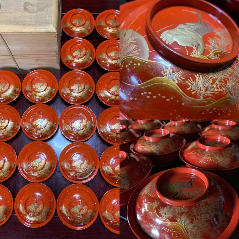 時代 木製漆器 鶴蒔繪 煮物椀 20客_画像1