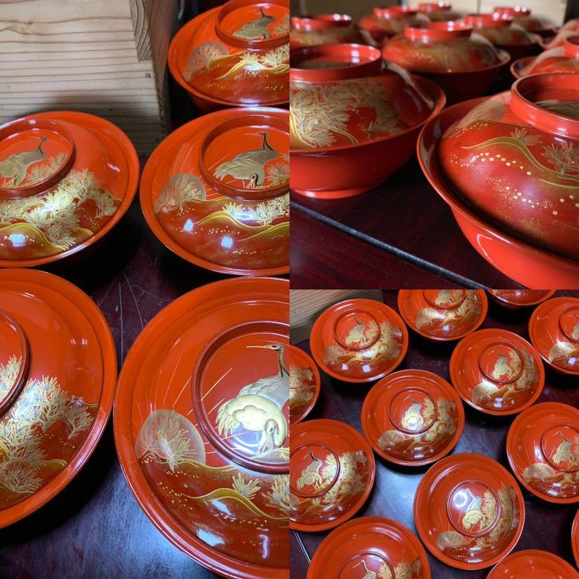 時代 木製漆器 鶴蒔繪 煮物椀 20客_画像2