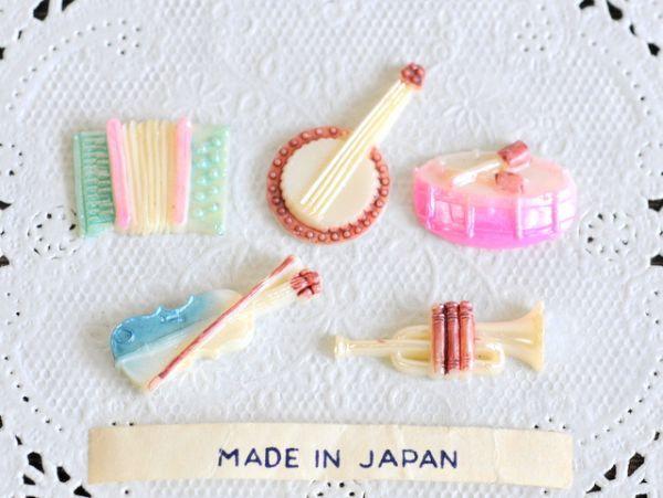 ☆送料無料 楽器 ジャパン ヴィンテージ カボション 日本製 レトロ ハンドメイド アクセサリー パーツ バイオリン アコーディオン など 5個