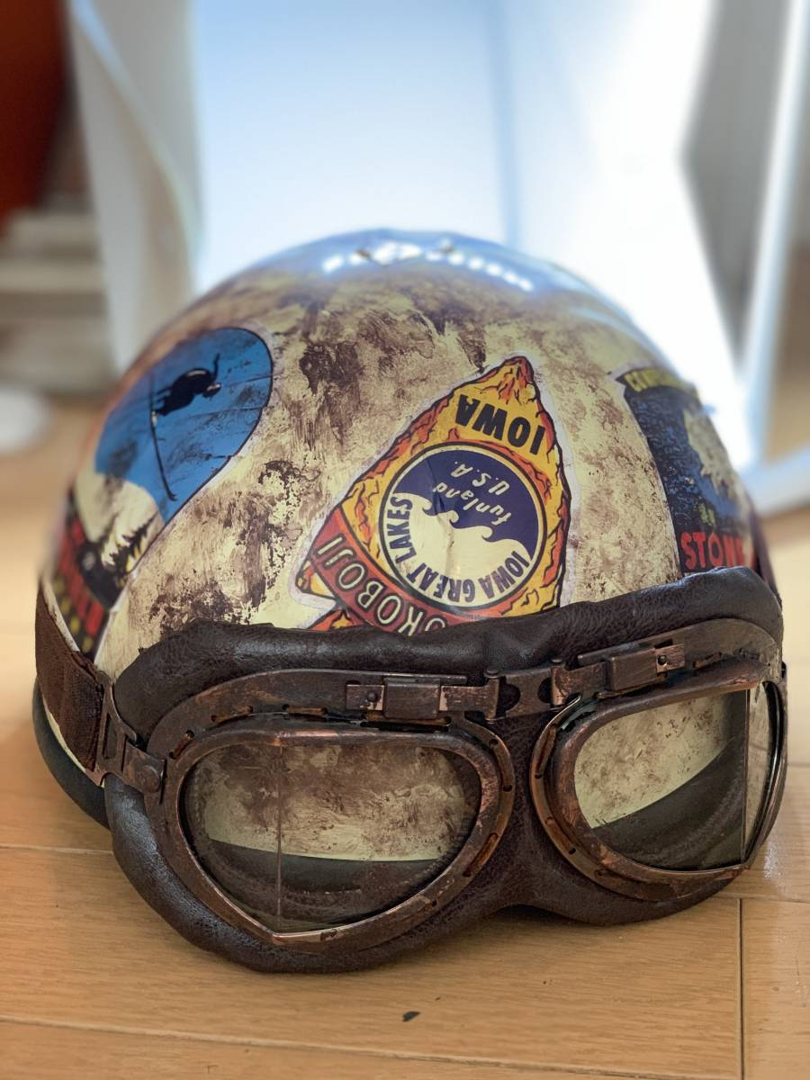 新品 ビンテージ加工 ハーフヘルメット 規格 フリーサイズ ゴーグルつき 定価39800 限定値下げ 1点物 ハーレー など