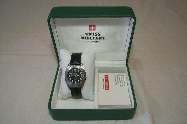 ● スイスミリタリー 7879 SWISS MILITARY by CHRONO スイス製 クオーツ 3針 カレンダー 腕時計 メンズウォッチ 箱 説明書 保証書