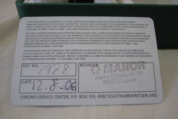 ● スイスミリタリー 7879 SWISS MILITARY by CHRONO スイス製 クオーツ 3針 カレンダー 腕時計 メンズウォッチ 箱 説明書 保証書_画像8