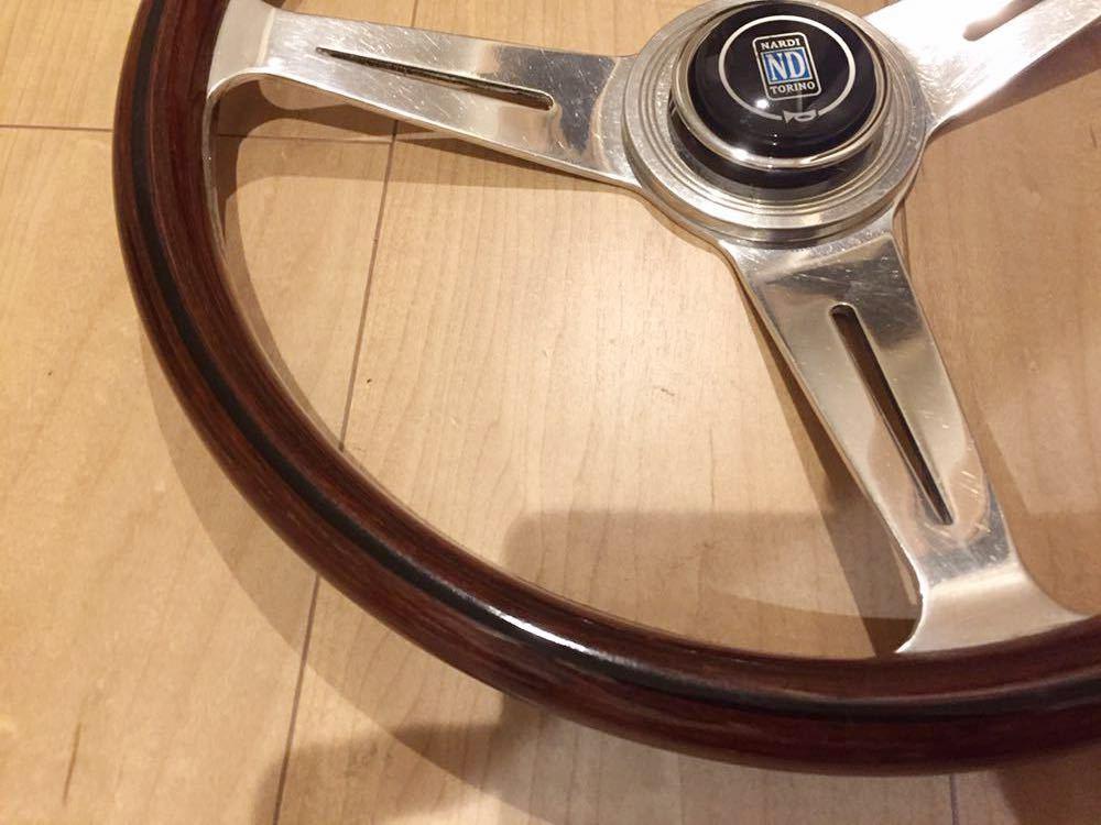 希少 レア物 ナルディ NARDI ウッド シルバー 旧車 当時物 36.5φ ホーンボタン付 ホーンリング付き No.134_画像3