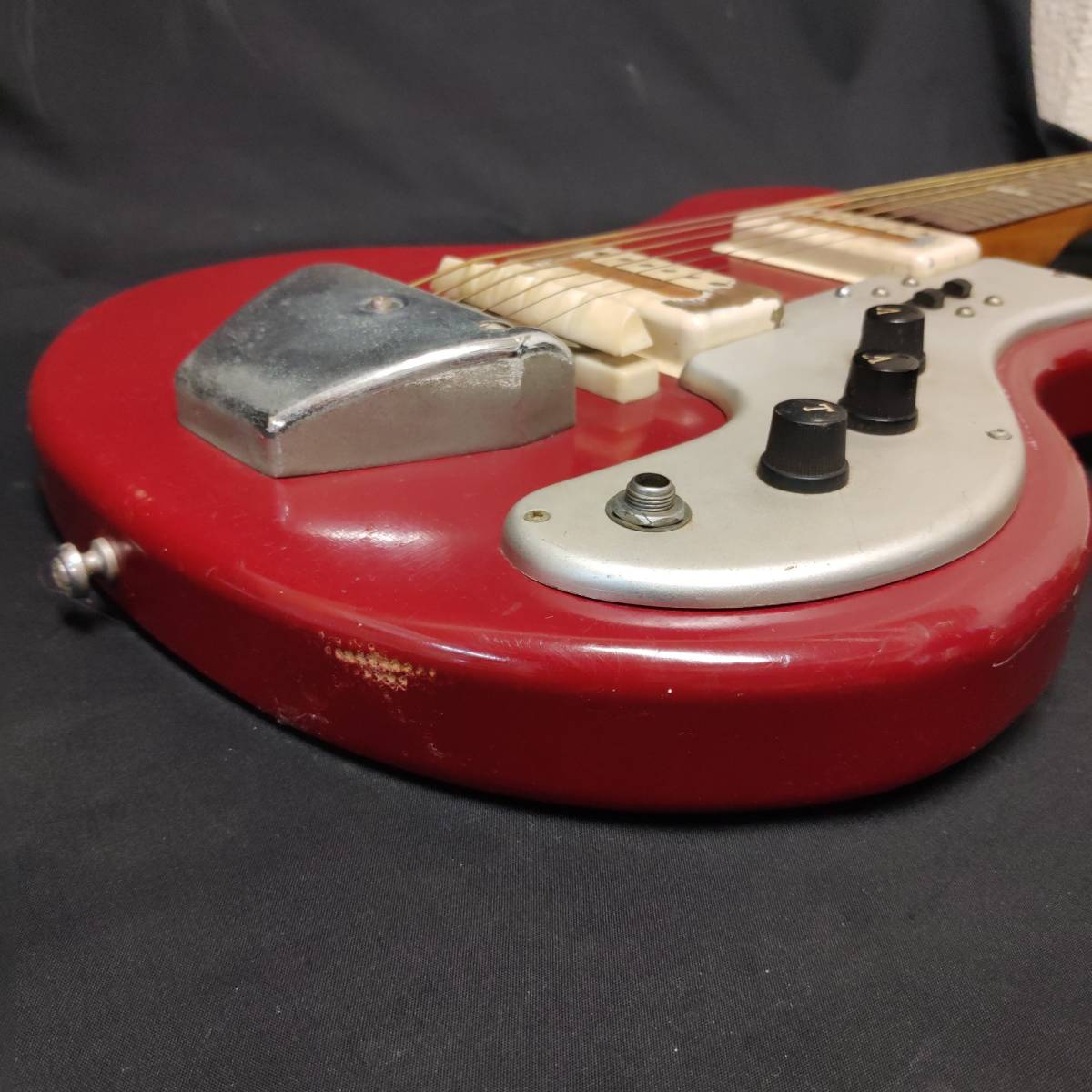 A22m11T GUYA TONE エレキギター LG-85T 本体 約100cm グヤトーン ビンテージ レッド 赤色_画像9