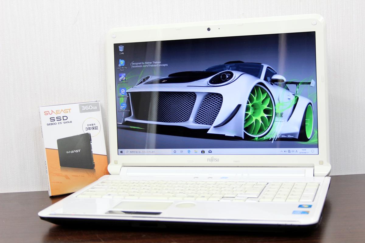 FUJITSU★新品爆速SSD360GB★AH550/5B★I5 560M★ブルーレイ/最新Windows10/USB3.0★WIFI/OFFICE/送料無料/3369