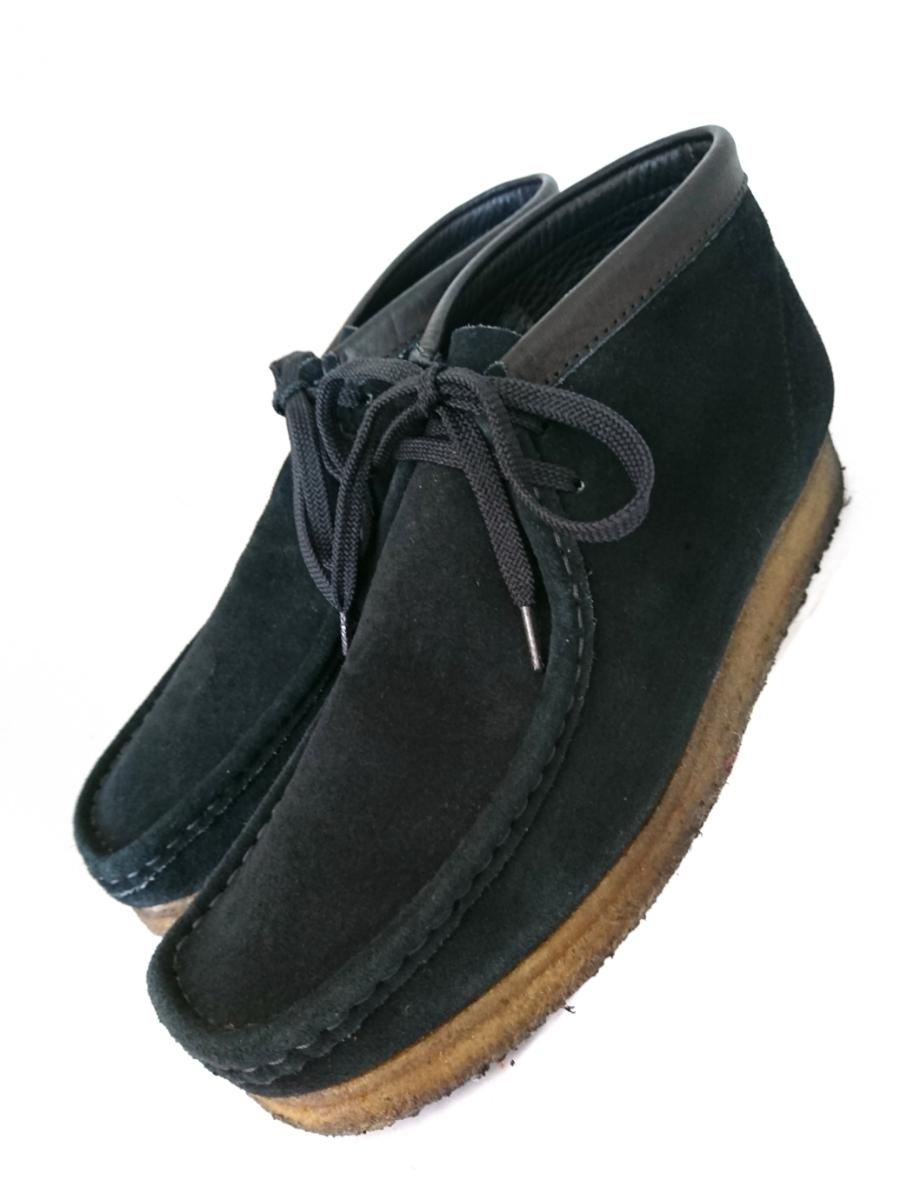 管理195 Clarks UK8.5 クラークス ワラビー スエード ブラック シューズ メンズ 革靴 レザー 黒 カジュアル ビジネス 8 1/2