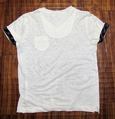 未使用バーバリーブラックレーベルBurberryBlacklabeリネンxノバチェック&ビッグロゴ刺繍ポケットTシャツ★2_画像6