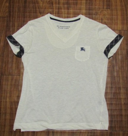 未使用バーバリーブラックレーベルBurberryBlacklabeリネンxノバチェック&ビッグロゴ刺繍ポケットTシャツ★2_画像5