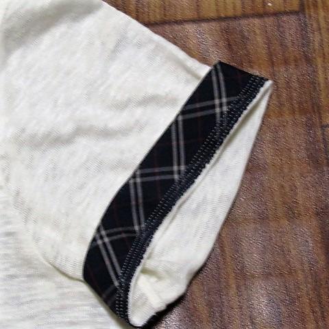 未使用バーバリーブラックレーベルBurberryBlacklabeリネンxノバチェック&ビッグロゴ刺繍ポケットTシャツ★2_画像3