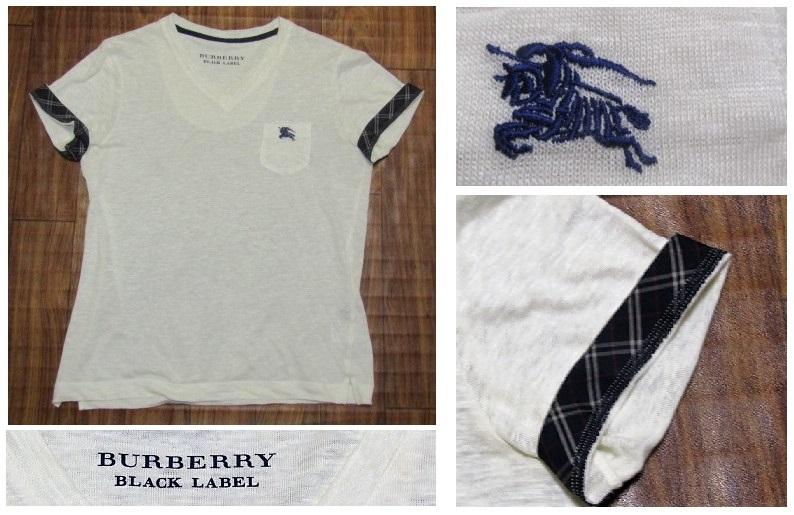 未使用バーバリーブラックレーベルBurberryBlacklabeリネンxノバチェック&ビッグロゴ刺繍ポケットTシャツ★2