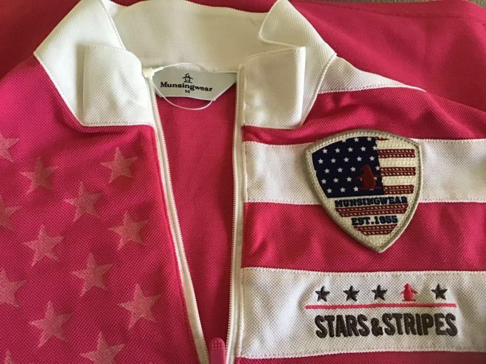 ・Munsingwear マンシングウェア ピンク系 ハーフzip 半袖シャツ Mサイズ 未使用_画像3