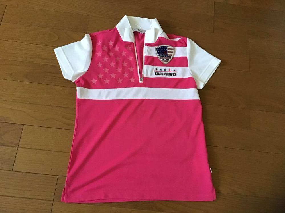 ・Munsingwear マンシングウェア ピンク系 ハーフzip 半袖シャツ Mサイズ 未使用_画像2