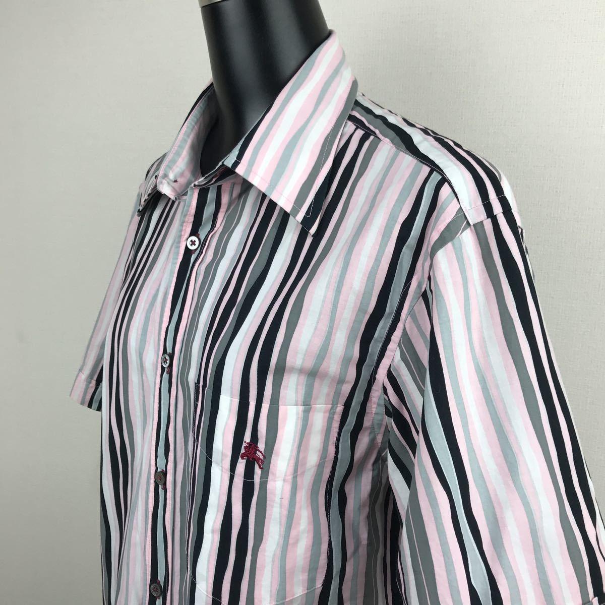 1円売切■3回着用■BURBERRY■BLACKLABELバーバリーブラックレーベル■ストライプ ボタンシャツ 半袖■ホースマーク■サイズ2_画像3
