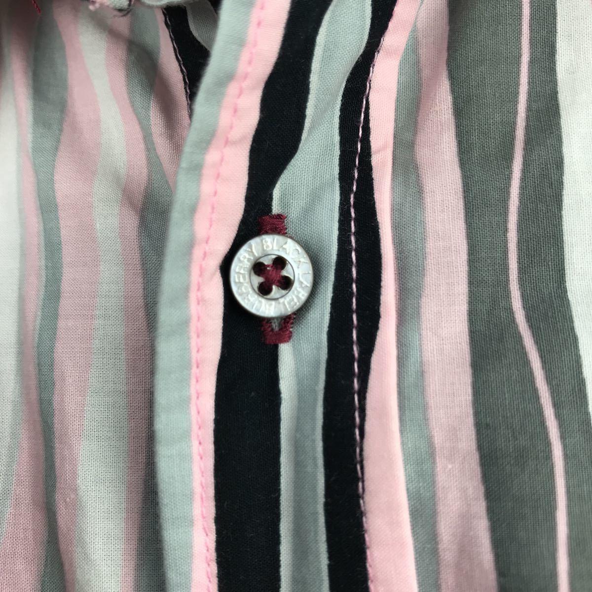 1円売切■3回着用■BURBERRY■BLACKLABELバーバリーブラックレーベル■ストライプ ボタンシャツ 半袖■ホースマーク■サイズ2_画像4