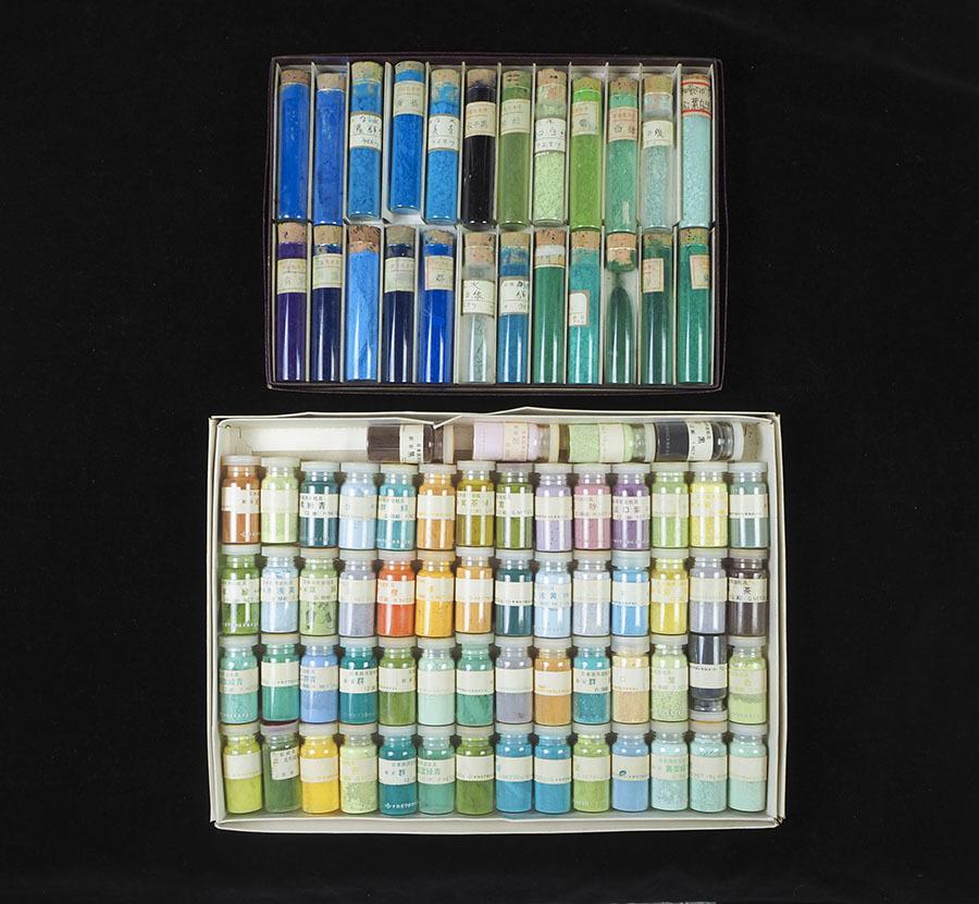 ze57_旧家初出 岩絵具 吉祥日本画絵具 2箱セット 画材 まとめて 大量