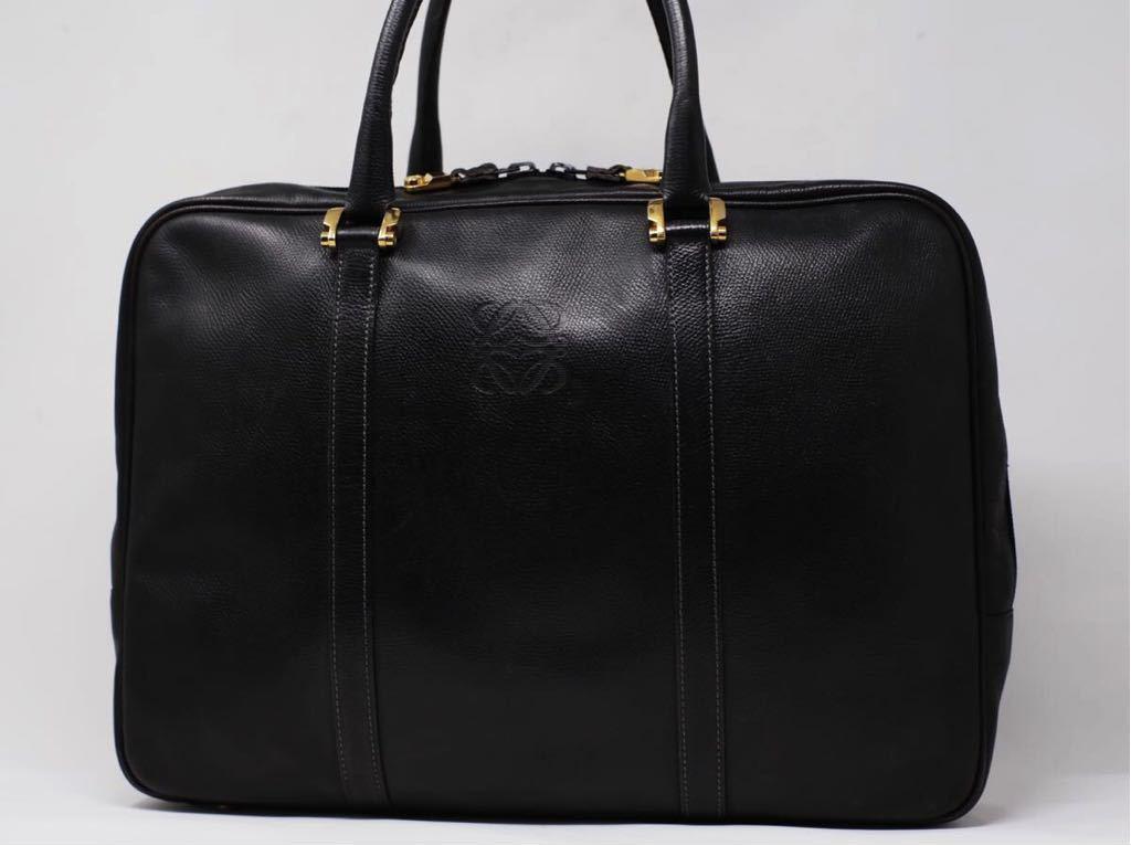 極美品 美品 A4収納 PC収納 LOEWE ロエベ ビジネスバッグ ブリーフケース 25万 メンズ カーフ レザー本革 黒 ブラック バッグ ビンテージ