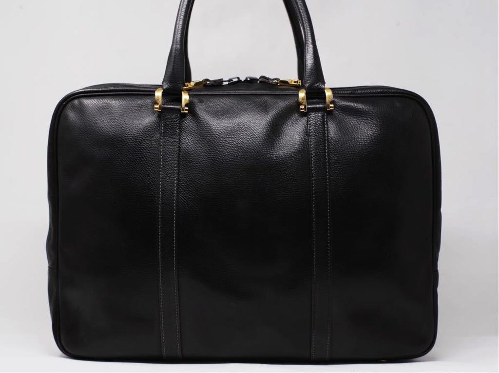 極美品 美品 A4収納 PC収納 LOEWE ロエベ ビジネスバッグ ブリーフケース 25万 メンズ カーフ レザー本革 黒 ブラック バッグ ビンテージ_画像2