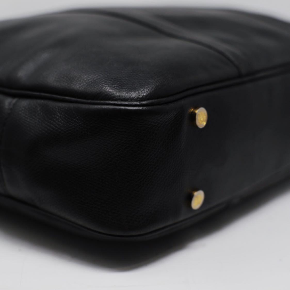 極美品 美品 A4収納 PC収納 LOEWE ロエベ ビジネスバッグ ブリーフケース 25万 メンズ カーフ レザー本革 黒 ブラック バッグ ビンテージ_画像7
