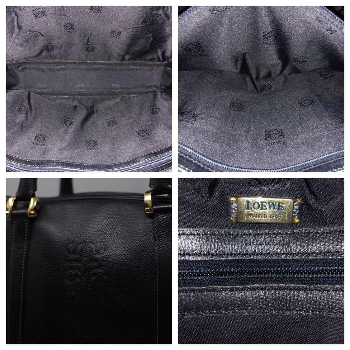 極美品 美品 A4収納 PC収納 LOEWE ロエベ ビジネスバッグ ブリーフケース 25万 メンズ カーフ レザー本革 黒 ブラック バッグ ビンテージ_画像10