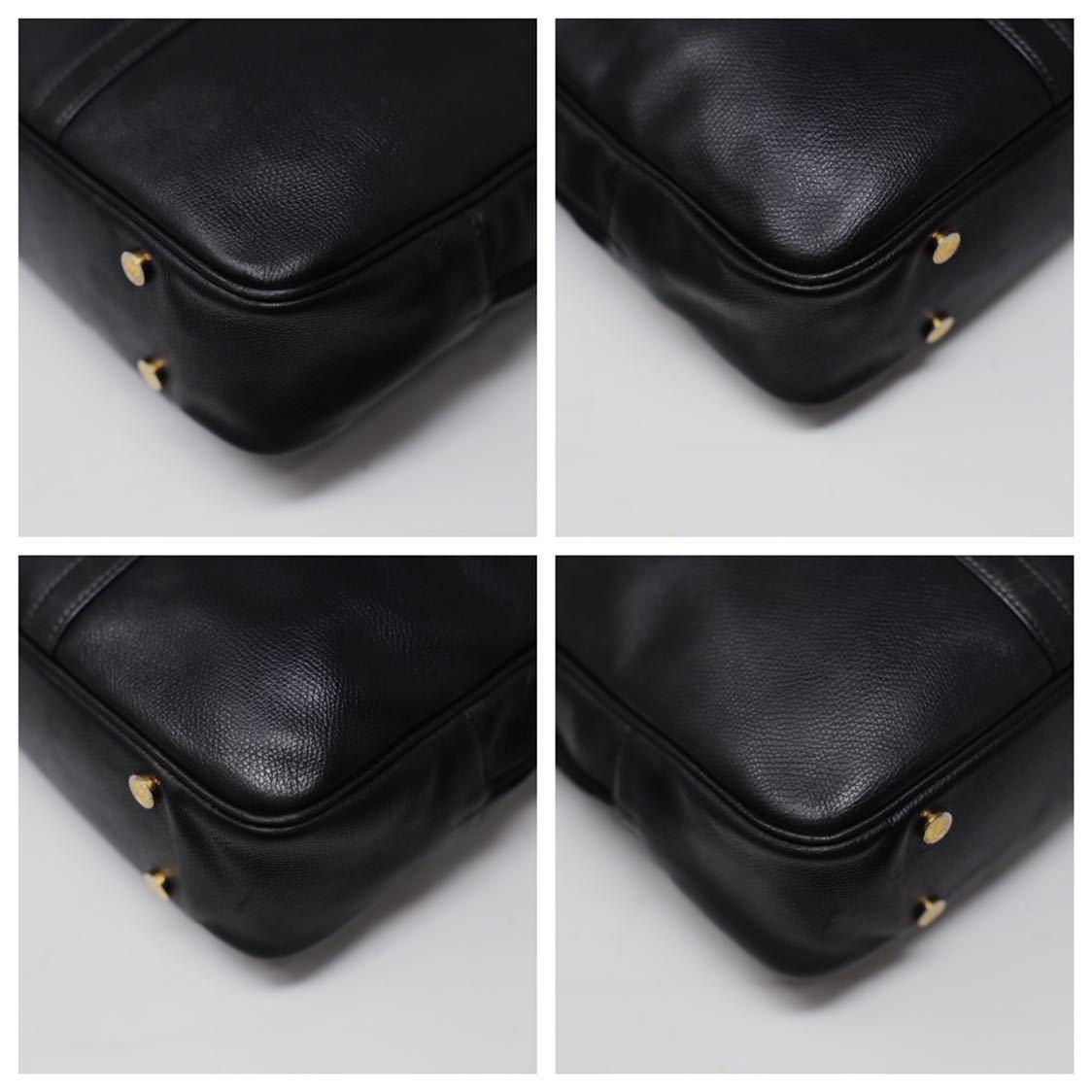 極美品 美品 A4収納 PC収納 LOEWE ロエベ ビジネスバッグ ブリーフケース 25万 メンズ カーフ レザー本革 黒 ブラック バッグ ビンテージ_画像5