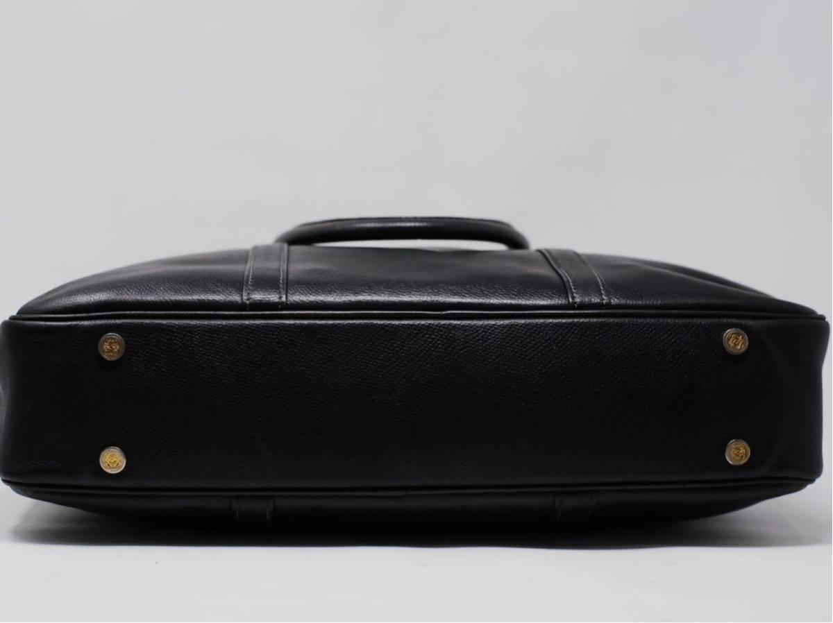 極美品 美品 A4収納 PC収納 LOEWE ロエベ ビジネスバッグ ブリーフケース 25万 メンズ カーフ レザー本革 黒 ブラック バッグ ビンテージ_画像8