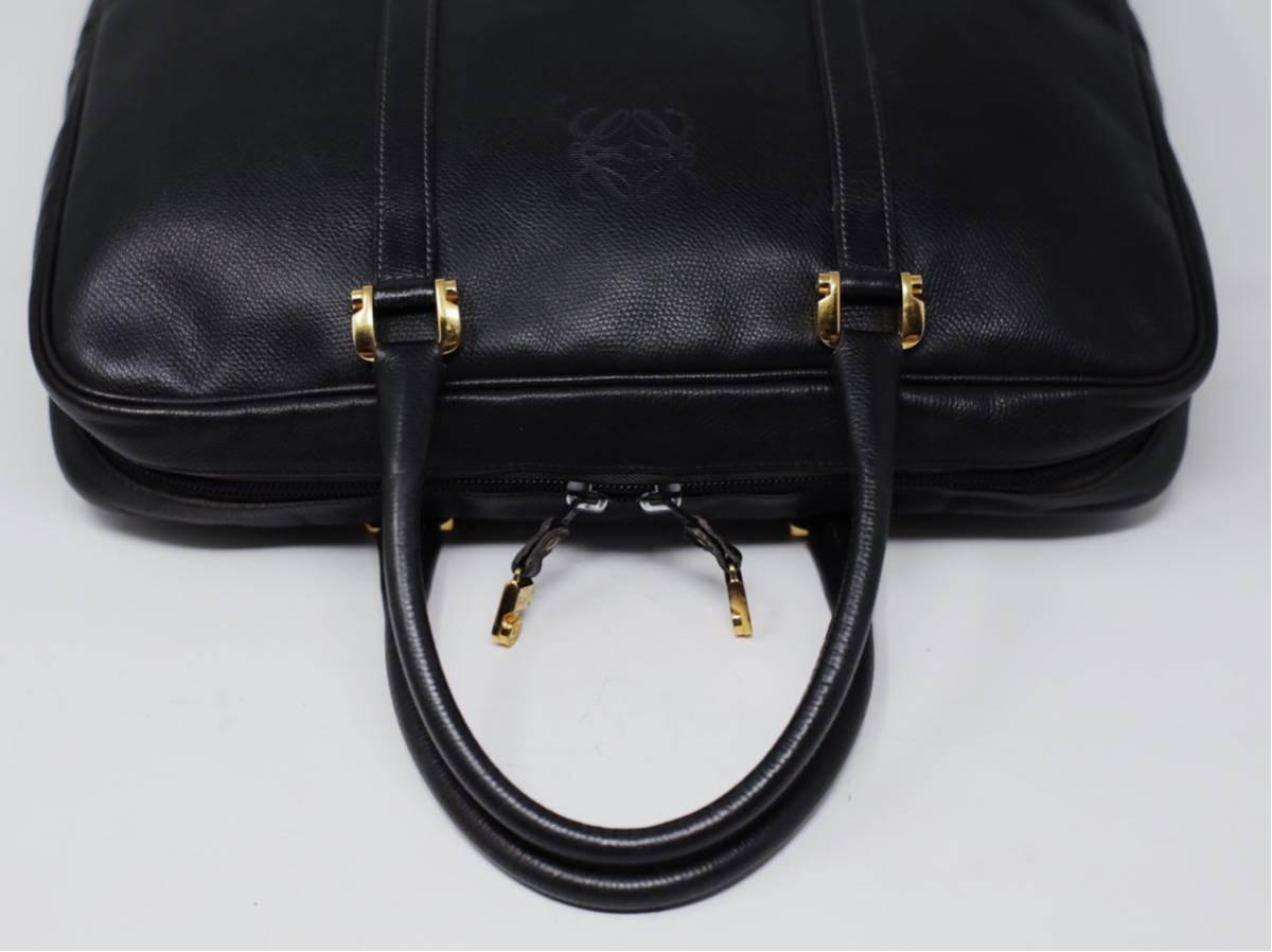極美品 美品 A4収納 PC収納 LOEWE ロエベ ビジネスバッグ ブリーフケース 25万 メンズ カーフ レザー本革 黒 ブラック バッグ ビンテージ_画像9
