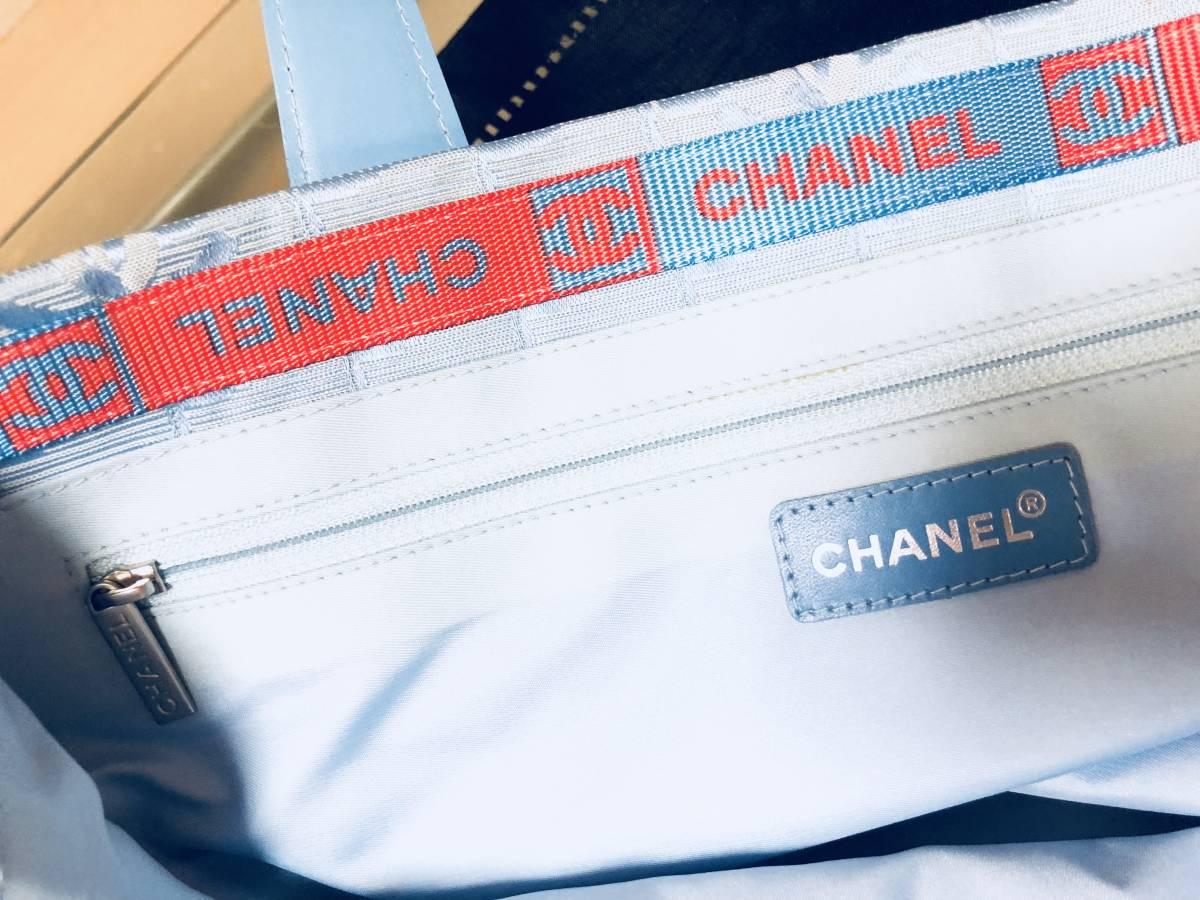 ◆ 超美品 ◆ シャネル CHANEL Gカード有り! ニュートラベルラインMM 青 トート バッグ_画像5