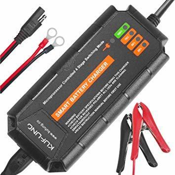 バッテリー充電器12V5A KUFUNGバッテリーチャージャー オートバイ バイク カー 電動自転車 自動車用 クリップ式充電器