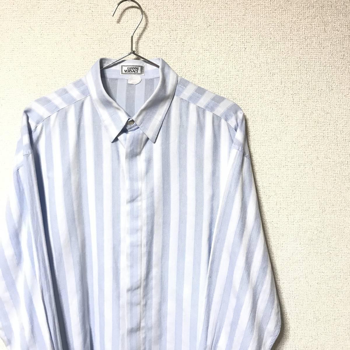 ★Gianni Versace/ヴェルサーチ★メンズ ストライプ柄 長袖 シャツ レギュラーカラー ブロード 水色 ライトブルー ドレスシャツ ワイシャツ_画像4