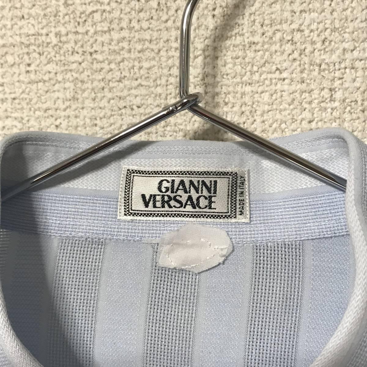 ★Gianni Versace/ヴェルサーチ★メンズ ストライプ柄 長袖 シャツ レギュラーカラー ブロード 水色 ライトブルー ドレスシャツ ワイシャツ_画像8