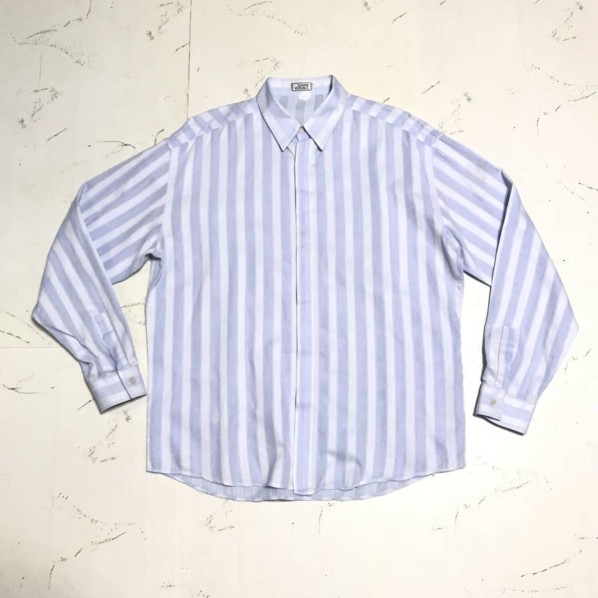 ★Gianni Versace/ヴェルサーチ★メンズ ストライプ柄 長袖 シャツ レギュラーカラー ブロード 水色 ライトブルー ドレスシャツ ワイシャツ_画像5