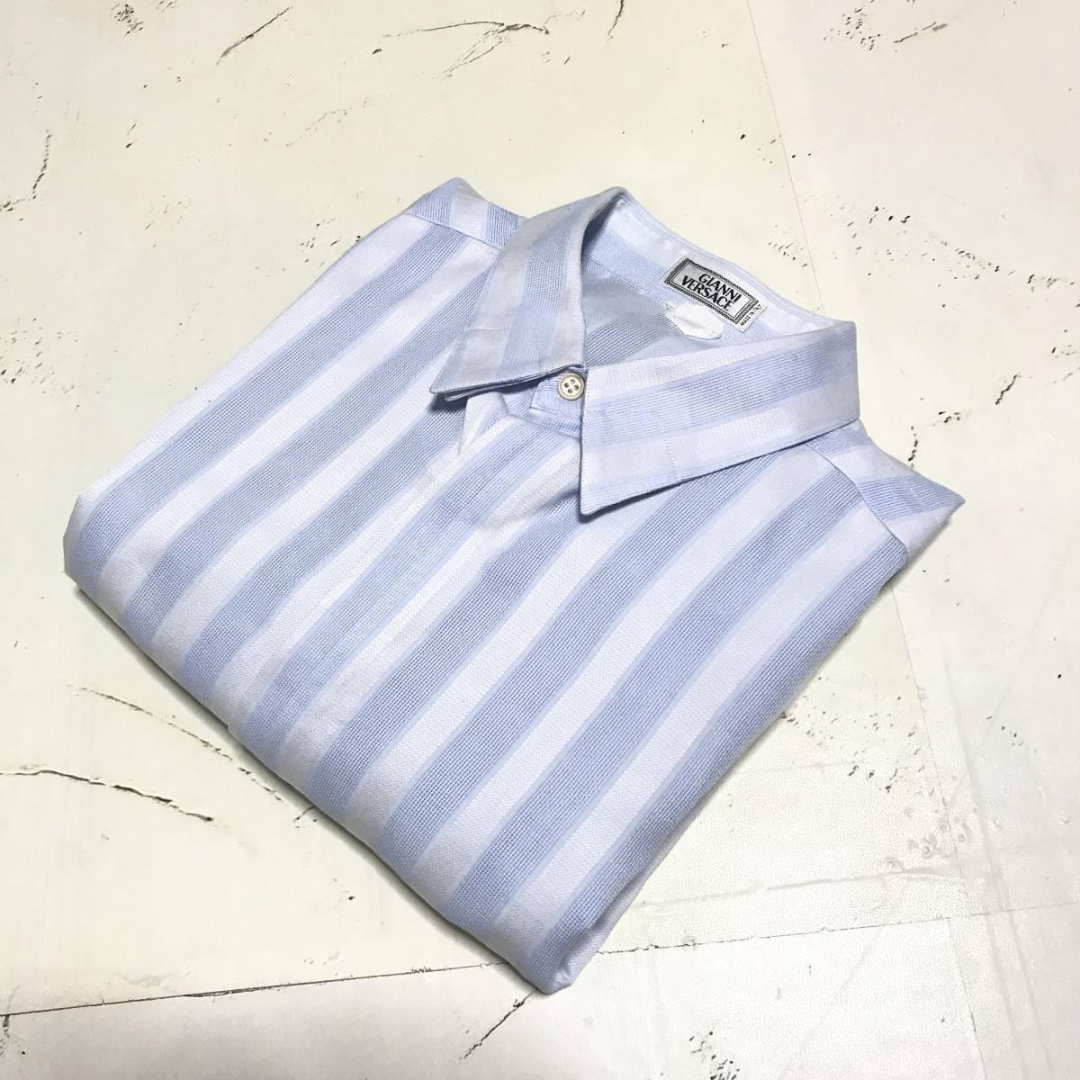 ★Gianni Versace/ヴェルサーチ★メンズ ストライプ柄 長袖 シャツ レギュラーカラー ブロード 水色 ライトブルー ドレスシャツ ワイシャツ_画像3