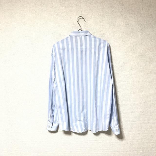★Gianni Versace/ヴェルサーチ★メンズ ストライプ柄 長袖 シャツ レギュラーカラー ブロード 水色 ライトブルー ドレスシャツ ワイシャツ_画像2