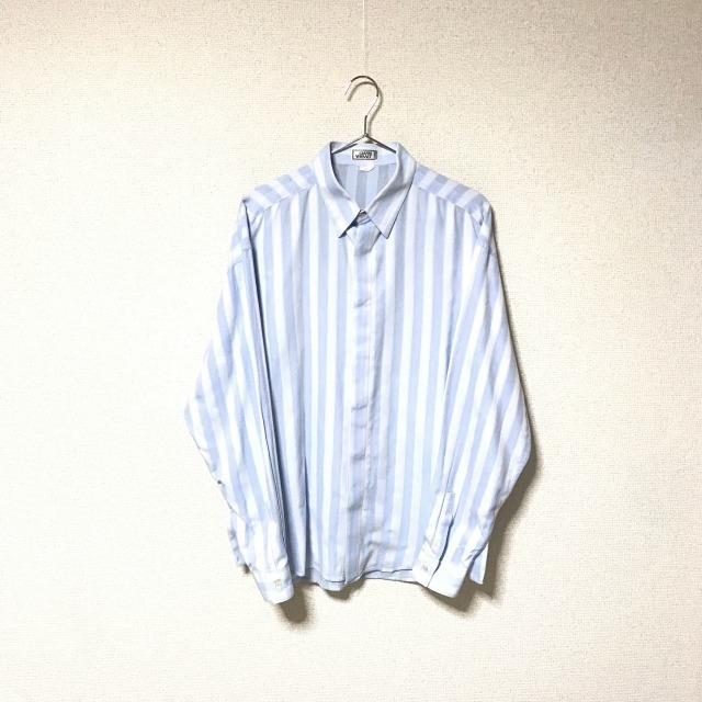 ★Gianni Versace/ヴェルサーチ★メンズ ストライプ柄 長袖 シャツ レギュラーカラー ブロード 水色 ライトブルー ドレスシャツ ワイシャツ_画像1