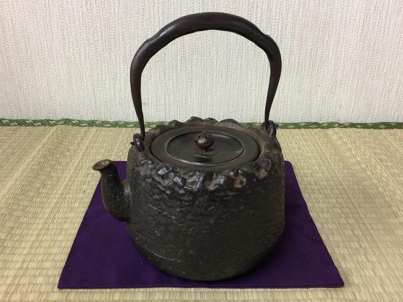 龙文堂 铭 岩肌 鉄瓶 时代品 煎茶道具