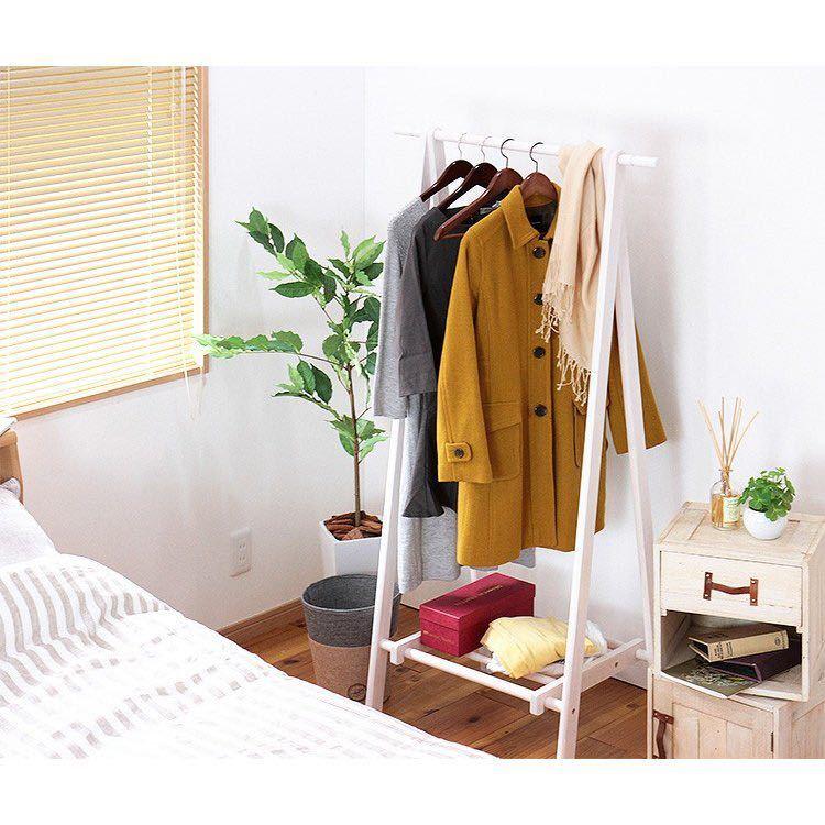 ハンガーラック 75幅 おしゃれ スリム 木製 ジョイント式木製ハンガー 棚付き 北欧 玄関 パイプハンガー 衣類 収納 洋服掛け コート_画像5