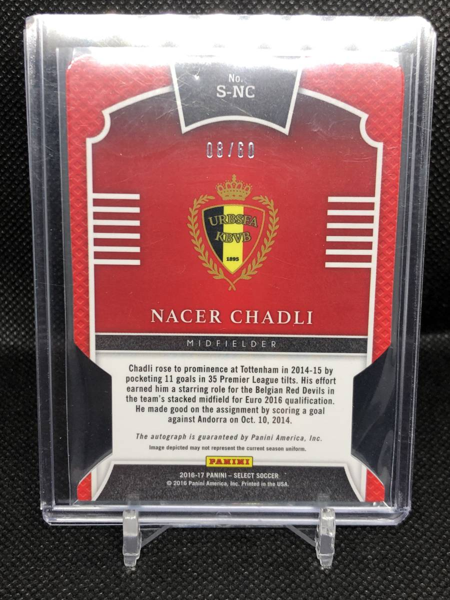 【Nacer Chadli】 2016-17 SELECT SOCCER Signatures Neon Green Die-Cuts /60 60枚限定 サインカード!_画像2