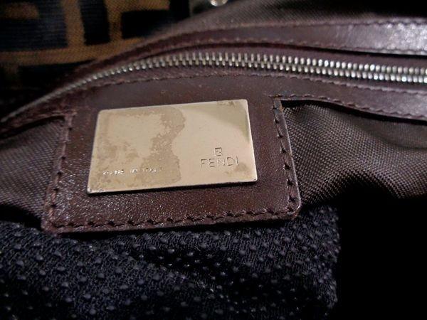 【美品/A】◆本物◆FENDI フェンディ ズッカ トートバッグ 40cm A4収納 ジャガード レザー ブラウン×ブラック_画像4
