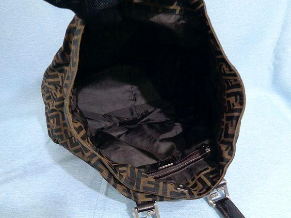 【美品/A】◆本物◆FENDI フェンディ ズッカ トートバッグ 40cm A4収納 ジャガード レザー ブラウン×ブラック_画像3