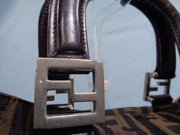 【美品/A】◆本物◆FENDI フェンディ ズッカ トートバッグ 40cm A4収納 ジャガード レザー ブラウン×ブラック_画像6