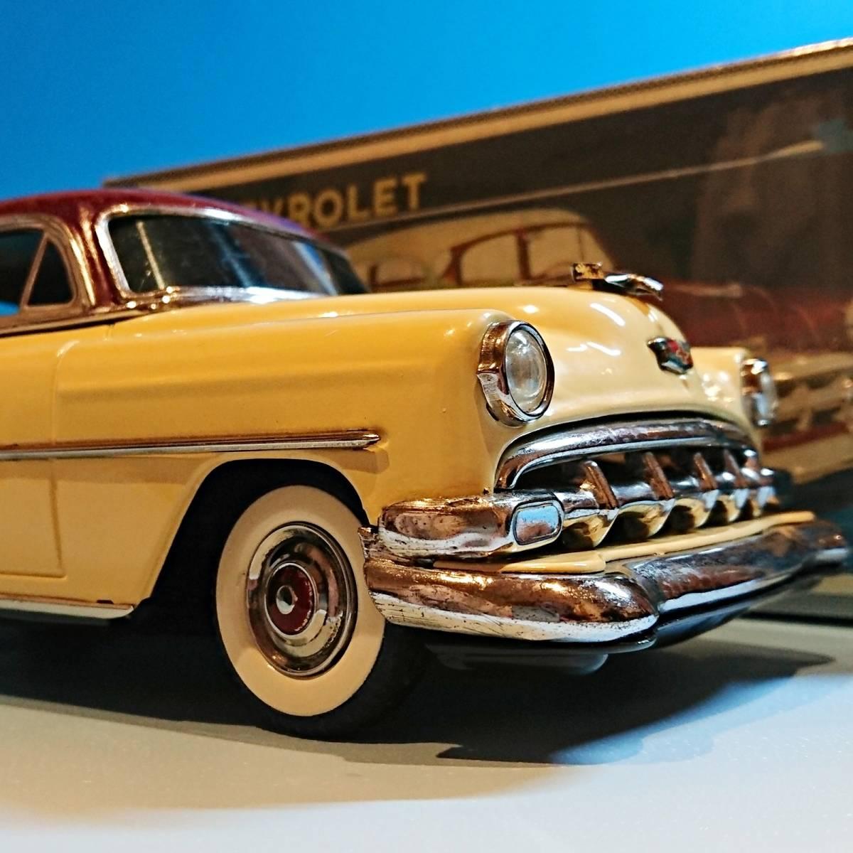 超希少ブリキ! ラインマー シボレー 世界に1つのツートンカラー Linemar Chevrolet マルサン/コスゲ製 リペイント 自動車 ビンテージ _画像3