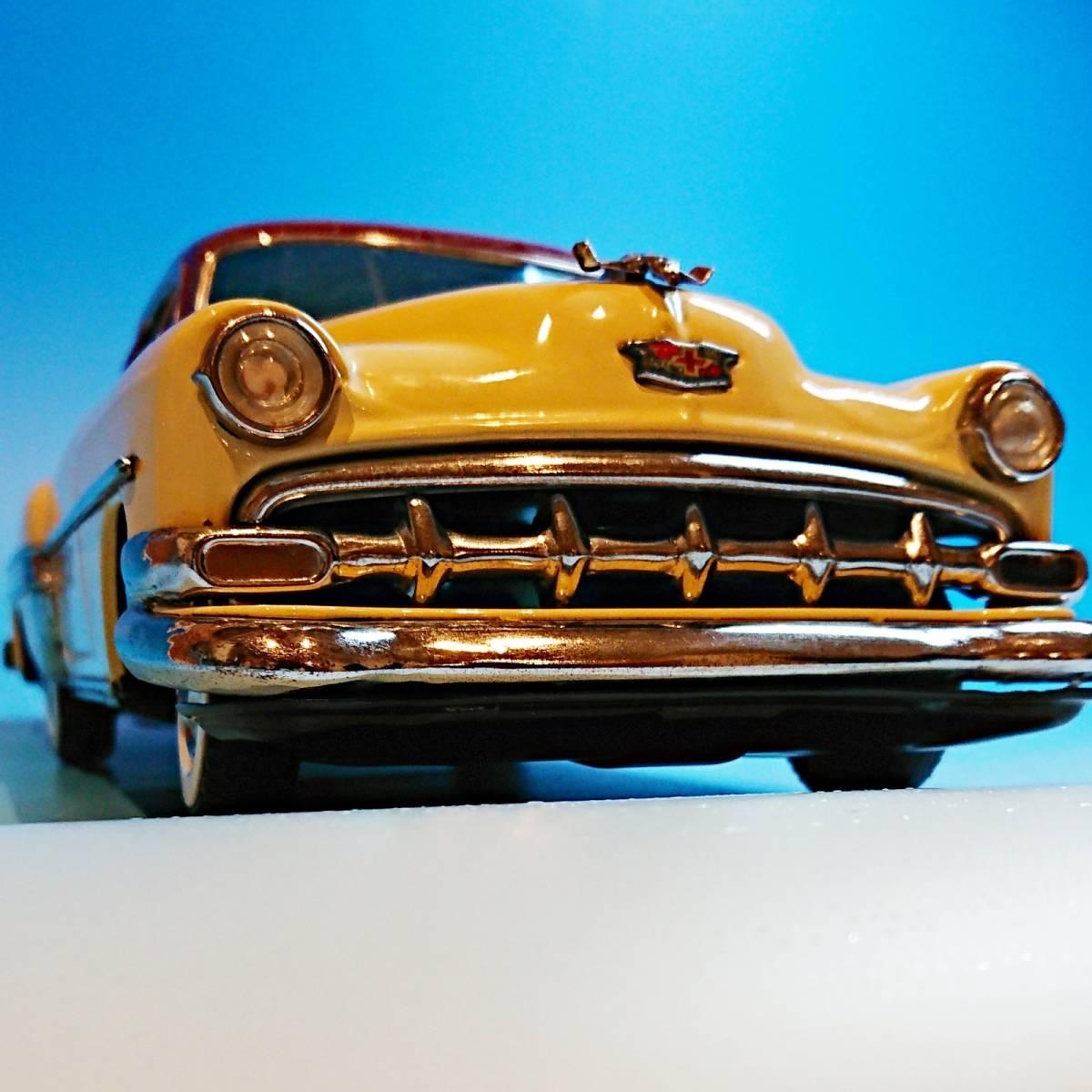 超希少ブリキ! ラインマー シボレー 世界に1つのツートンカラー Linemar Chevrolet マルサン/コスゲ製 リペイント 自動車 ビンテージ _画像4