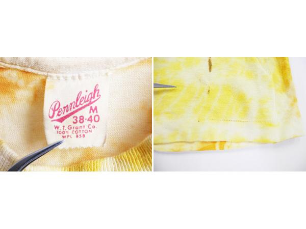 70's ビンテージ ■ W. T. Grant Pennleigh タイダイ 染め 耳 ポケット付き 半袖 Tシャツ ( メンズ レディース M ) ポケT シングル 古着 黄_画像4