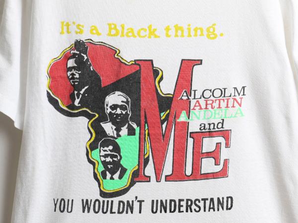 80's 大きいサイズ XL ■ マルコムX キング牧師 マンデラ メッセージ ビッグ プリント 半袖 Tシャツ ( 男性 メンズ ) 古着 80年代 偉人 白_画像2
